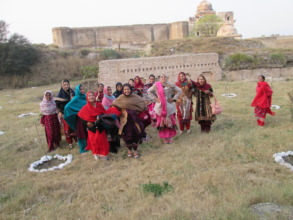 Girls playing outside Katas Raj Temple