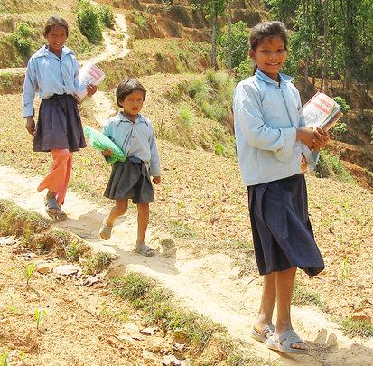 Girls walking to school in remote Nepal