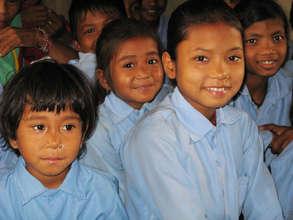 Girls in school in rural Nepal, thanks to NYF
