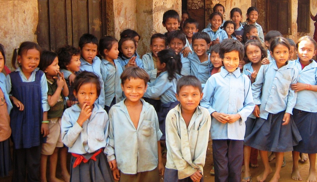 Village students in rural Nepal