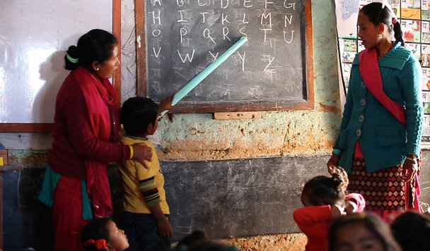 Children at a preschool in Kavre district