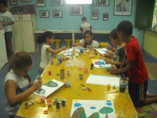 The children hard at work