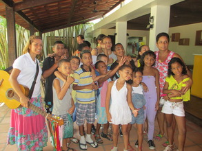 Group with singing guide at Casa do Pontal Museum