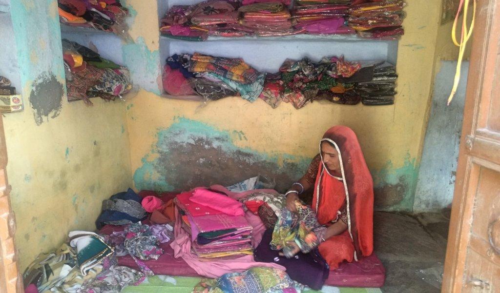 SHGs Women member running a Cloth Shop