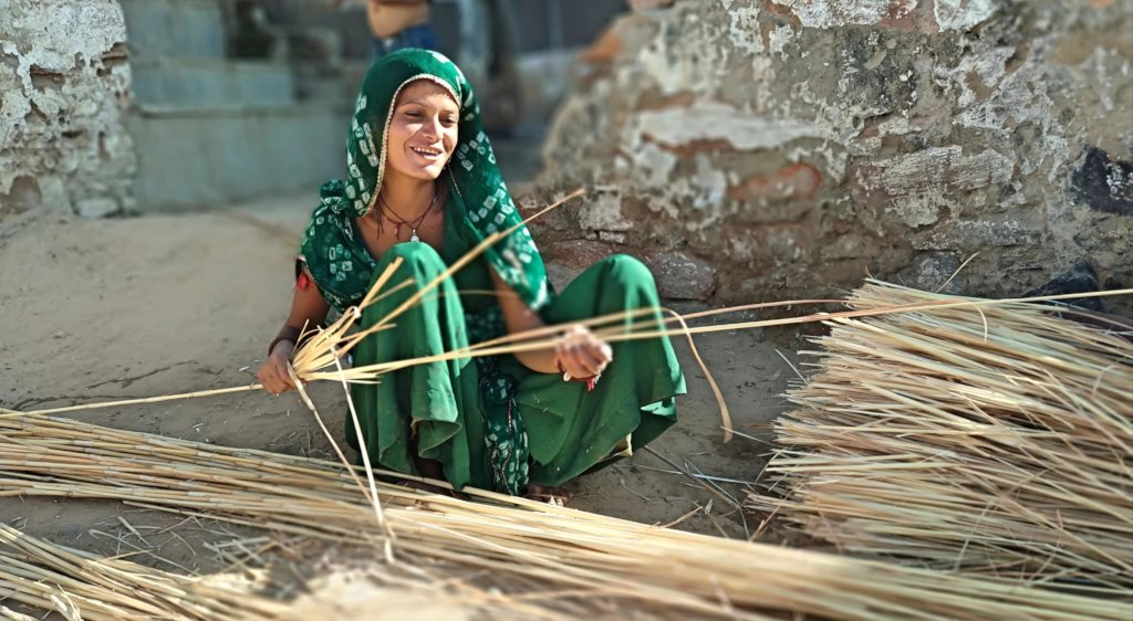 One of the SHGs member Making Bamboo Basket