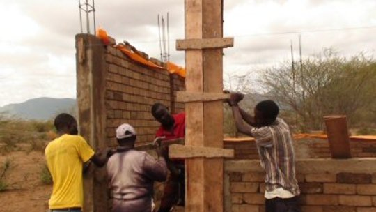 Placing the forms for the pillars