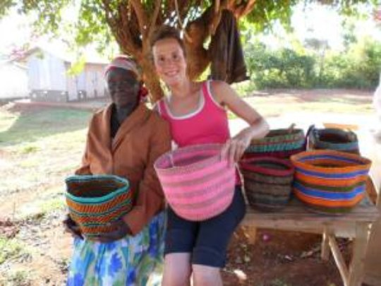 Basket weaving group with one of our volunteers.