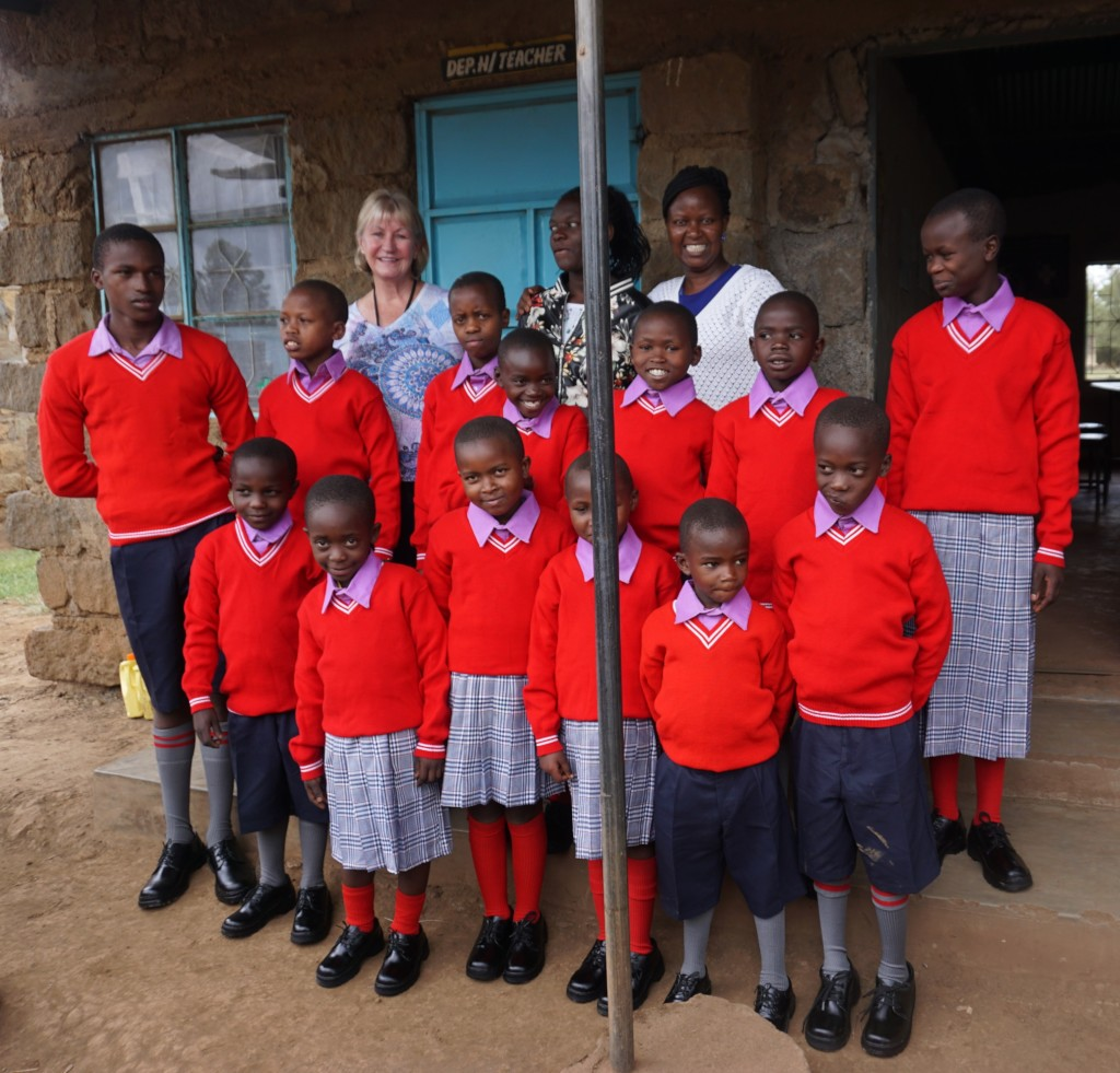 Some of the students in their new uniforms.