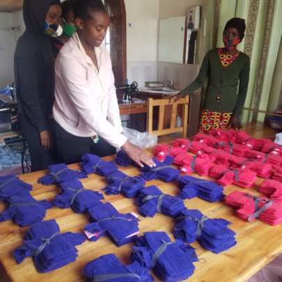 Working on the Rotary Club sanitary pad project.
