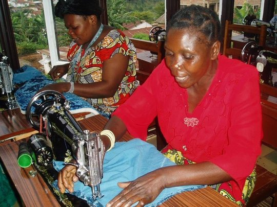 Participant using a sewing machine