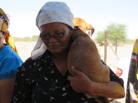 Pup and owner at an HAH-Mobile clinic