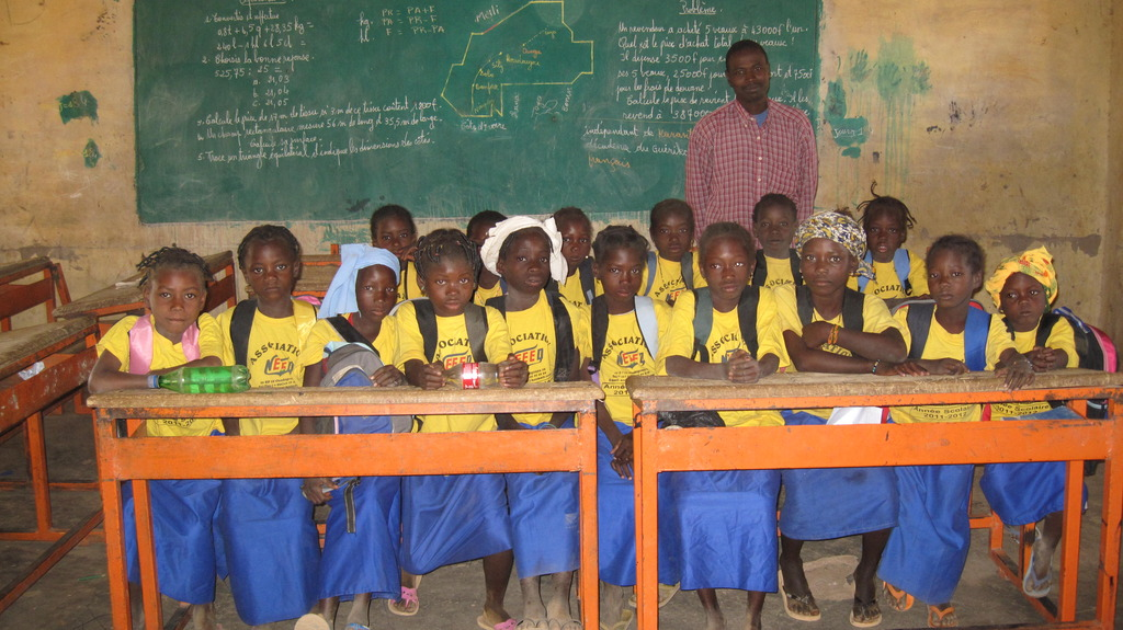 First graders in class in the village of Ingare