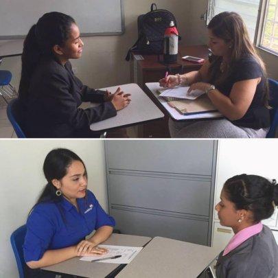 Las Claras being interviewed for Mi Primer Salario
