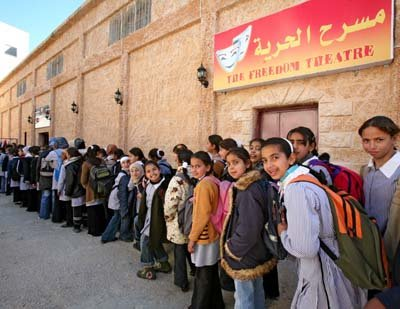 Children waiting outside The Freedom Theatre