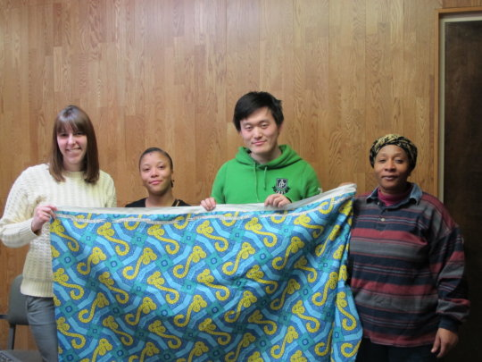 Volunteers with the Ebola print prototype