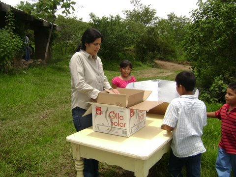 Children are especially excited about the solar cooker