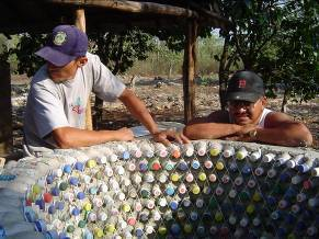Upcycling plastic bottles for building rainwater storage cistern