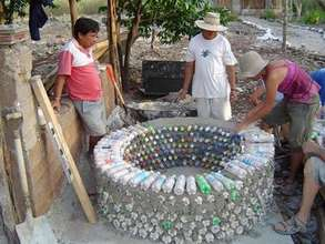 Using plastic bottles to build a water cistern