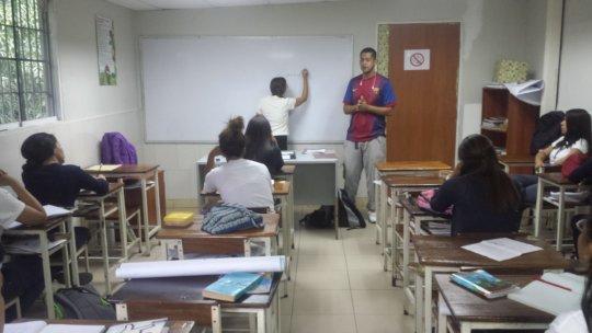 At school training