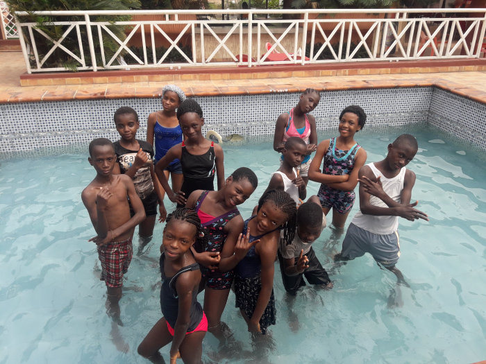 Some of the FLA Kids at their Christmas Pool Party