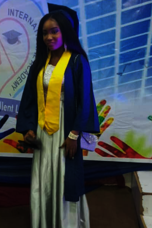 Chioma in her graduation gown