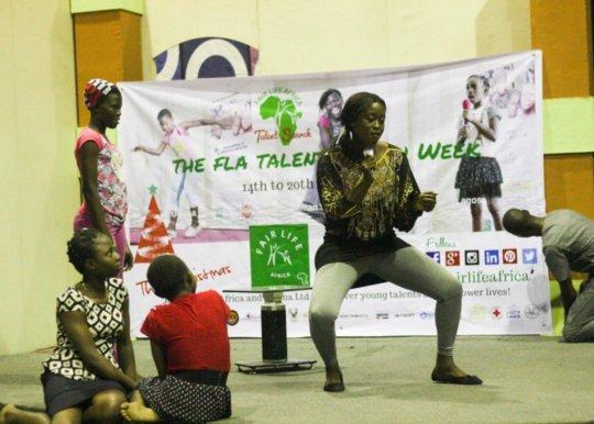 Actress Pam Baldwin-Eze trains the kids in drama