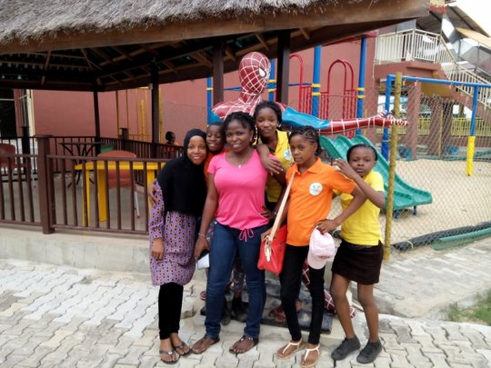 Ifeoma and Nishola pose with the girls
