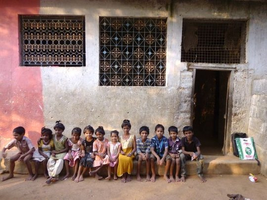 children relaxed front of dressing room