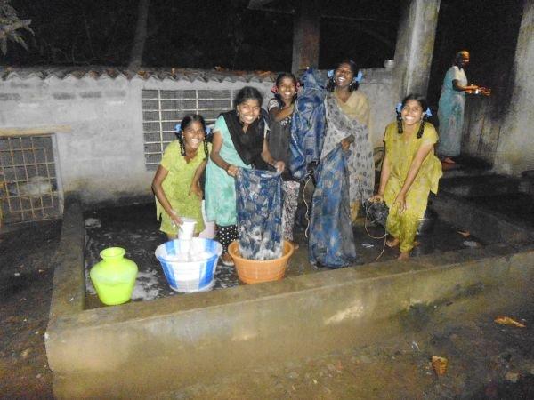 children washing cloths