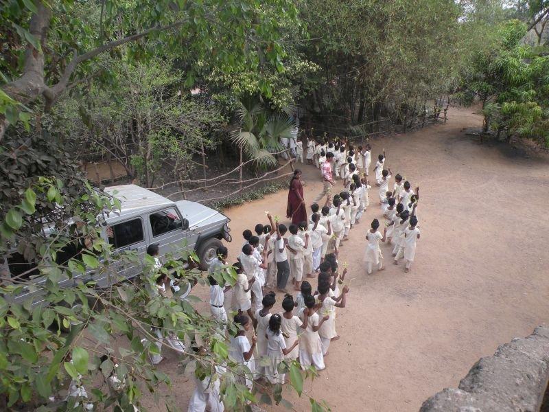 children going outside