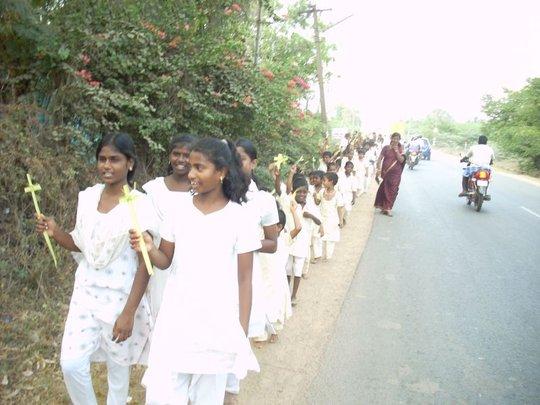 children going outside on the road