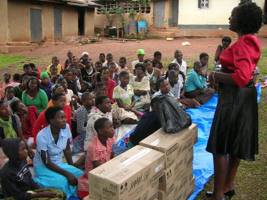 Staff talk to girls on child protection issues
