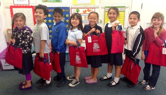 RAR children in California & their red book bags