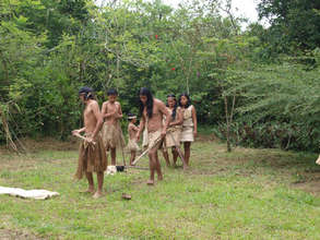Maleku family demonstrating tribal cultures