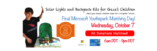 Wednesday is the last Youthspark matching day!