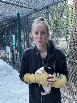 Lauren putting a bat from care into the cage
