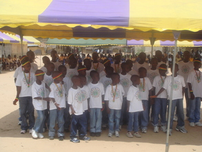 All the children singing at the reunification ceremony