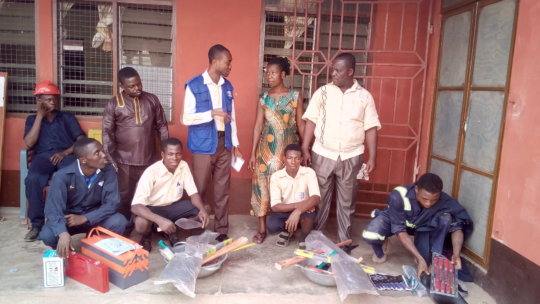 Students with their tools after donation from IOM