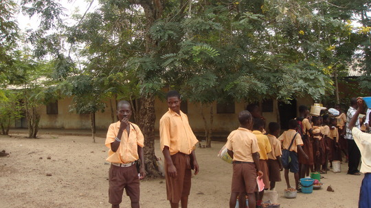 Kojo Tawiah looking happy to be in school