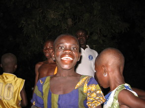 Nadu's 1st night at the transit camp with other children