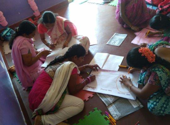 Teachers at a training workshop