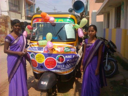 Teachers canvasing for enrollment in villages
