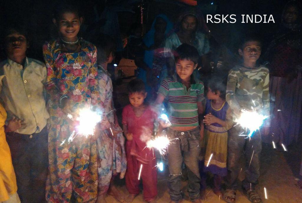 Slum kids celebrated Diwali