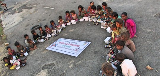 Street Kids Celebrating Giving Tuesday India