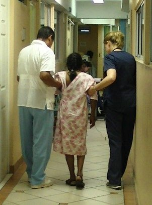 Patient walking after surgery