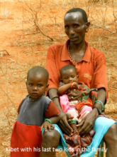 Kibet with his last two kids from the second wife