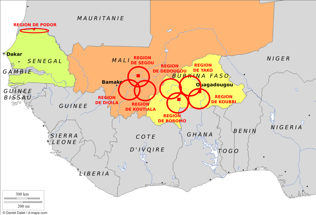 The regional deployment: 10 regions in 3 countries