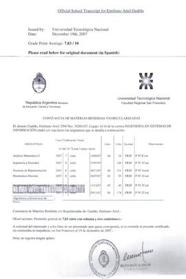 EMILIANO GUDINO - ACADEMIC REPORT