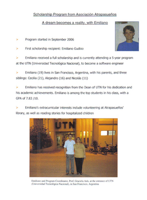 Emiliano Gudino - Scholarship recipient