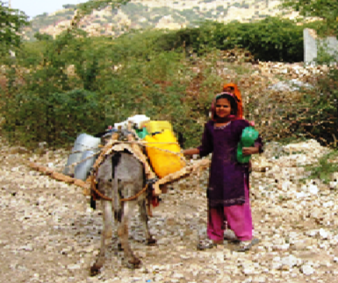 A girl is fetching water
